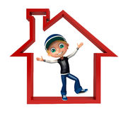 Kid boy with  home sign. Kid boy with home sign Stock Photos