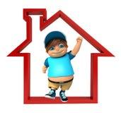 Kid boy with Home sign. Kid boy with  Home sign Stock Image