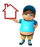 Kid boy with Home sign. 3d rendered illustration of kid boy with  Home sign Stock Image