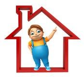 Kid boy with Home sign. 3d rendered illustration of kid boy with  Home sign Royalty Free Stock Photography