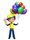 Kid boy with ice cream balloons. 3d rendered illustration of kid boy with ice cream balloons Stock Image
