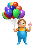 Kid boy with Ice cream & Balloons. 3d rendered illustration of kid boy with Ice cream & Balloons Stock Image