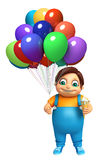 Kid boy with Ice cream & Balloons. 3d rendered illustration of kid boy with Ice cream & Balloons Royalty Free Stock Photo