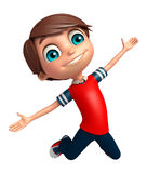 Kid boy with Jumping pose. 3d rendered illustration of Kid boy with Jumping pose Royalty Free Stock Photos