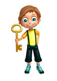 Kid boy with key Royalty Free Stock Photography