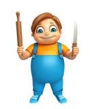 Kid boy with Kichen equipment. 3d rendered illustration of kid boy with Kichen equipment vector illustration