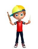 Kid boy with Kichen equipment. 3d rendered illustration of kid boy with Kichen equipment royalty free illustration