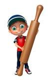 Kid boy with Kichen equipment. 3d rendered illustration of kid boy with Kichen equipment stock illustration