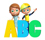 Kid boy and Kid girl with  ABC sign Stock Photography