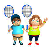 Kid boy and Kid girl with Badminton. 3d rendered illustration of Kid boy and Kid girl with Badminton Royalty Free Stock Image