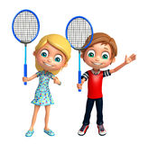 Kid boy and Kid girl with Badminton. 3d rendered illustration of Kid boy and Kid girl with Badminton Stock Photography
