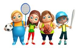 Kid boy and Kid girl with Base ball,badminton,football,basket ba Royalty Free Stock Photo