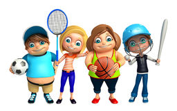 Kid boy and Kid girl with Base ball,badminton,football,basket ba. 3d rendered illustration of Kid boy and Kid girl with Base ball,badminton,football,basket ball Royalty Free Stock Photography