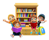 Kid boy and Kid girl with book shelves School bag Stock Photos