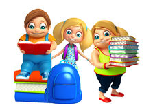 Kid boy and Kid girl with book stack Royalty Free Stock Images
