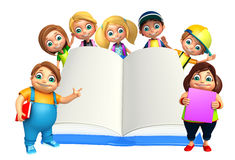 Kid boy and Kid girl with  Books Stock Photo