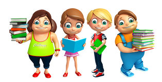 Kid boy and Kid girl with Books Royalty Free Stock Photos