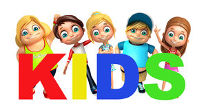 Kid boy and Kid girl with Kids word Stock Image