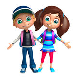 Kid boy and Kid girl with School bag Stock Images