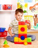Kid boy in kindergarten. Royalty Free Stock Image