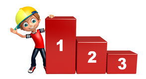 Kid boy with 123 level. 3d rendered illustration of kid boy with 123 level Stock Image