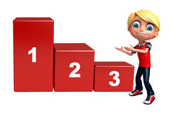 Kid boy with 123 level. 3d rendered illustration of kid boy with 123 level Royalty Free Stock Images