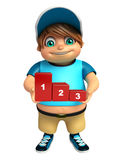 Kid boy with 123 Level. 3d rendered illustration of kid boy with 123 Level Royalty Free Stock Photos