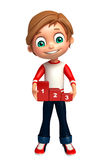 Kid boy with 123 level. 3d rendered illustration of kid boy with 123 level Stock Photo