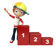 Kid boy with 123 level. 3d rendered illustration of kid boy with 123 level Stock Illustration