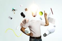 Head full of ideas. Mixed media vector illustration