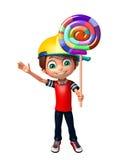Kid boy with lollipop Stock Photos