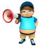 Kid boy with  Loud speaker Stock Photo
