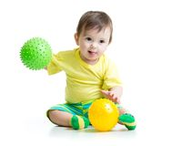 Kid boy with massage balls Royalty Free Stock Image