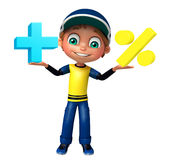 Kid boy with Math sign Royalty Free Stock Images