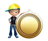 Kid boy with medal Stock Photos