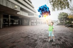 Innovative impressive technologies. Kid boy and media cube figure as symbol for technologies. 3d rendering Stock Image