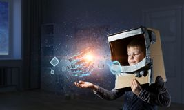 Innovative impressive technologies. Kid boy and media cube figure as symbol for technologies. 3d rendering Stock Images