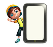 Kid boy with mobile Royalty Free Stock Images