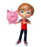 Kid boy with piggy bank Stock Images