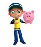 Kid boy with piggy bank Royalty Free Stock Photos
