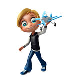 Kid boy with plane. 3d rendered illustration of kid boy with plane Royalty Free Stock Photo