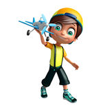 Kid boy with plane. 3d rendered illustration of kid boy with plane Royalty Free Stock Photos