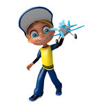 Kid boy with plane. 3d rendered illustration of kid boy with plane Stock Photography