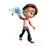 Kid boy with plane. 3d rendered illustration of kid boy with plane Stock Photos