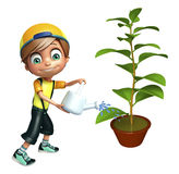 kid boy with plant & watering can vector illustration