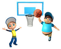Kid boy with Playing Basket Ball. 3d rendered illustration of Kid boy with Playing Basket Ball Royalty Free Stock Photography