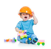 Kid boy playing with building blocks toy Royalty Free Stock Photography