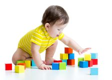 Kid boy playing  wooden toys Royalty Free Stock Photos
