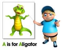 Kid boy pointing Alligator Stock Images