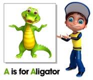 Kid boy pointing Alligator Royalty Free Stock Image